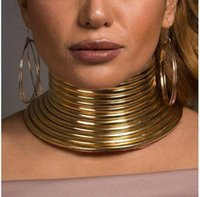 gargantillas únicas al por mayor-Mujeres Metallic Feel Diseñador Collar Exagerado Punk Gargantilla Collar Moda Collar Estilo Exótico Joyería Única Venta Caliente