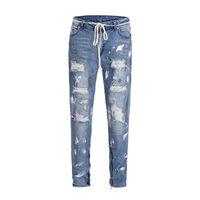 mulheres joker calças venda por atacado-Dear2019 Tempo de Lazer Pintura Destruição Mendigo Calça Jeans Hiphop Zipper Encosto Calças Calças Dos Homens E Mulheres Joker Calças