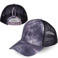 Wholesale baseball hats for womens for sale - Group buy Summer Womens Mesh Ponytail Baseball Caps Fashion Tie Dye Snapback Caps for Female Sport Hat Adjustable Visor Cap ZZA2396
