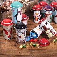 kutular şeker kutuları toptan satış-Noel Şeker Teneke Kutu Parti Noel Baba Kardan Adam Noel Şeker Kutular Çocuk Hediye Tatlılar Kutusu Demir Kavanoz Favor LJJA2997