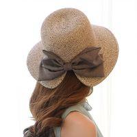 Wholesale wide brim ups hat resale online - New Fashion Women Lady Foldable Roll Up Sun Beach Wide Brim Straw Visor Hat