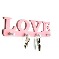 Wholesale pink clothes hangers for sale - Group buy MENGXIANG LOVE Hanger Hooks New Door Hanger Hooks For Key Clothes Bag Holder Wooden On The Wall Bathroom Pink