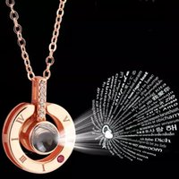 Wholesale New Arrival Rose Gold Silver languages I love you Projection Pendant Necklace Romantic Love Memory Wedding Necklace