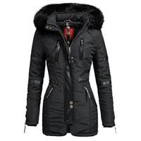 черное длинное пальто оптовых-Женские длинные куртки Пальто Черные Зимние Парки с капюшоном Теплая Ветровка Черный Готический Тонкий Пальто Femlae Повседневная Верхняя Одежда T4190610