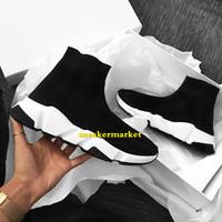 çoraplar damla nakliye toptan satış-Toptan Moda Tasarımcısı Ayakkabı Adam Rahat Kadın Hız Eğitmen Karışık Renkler Yüksek Üst Streç-Örgü Çorap Ayakkabı Bırak Gemi Boyutu 35-46 Kutusu Ile