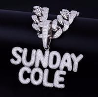 kette mm anhänger großhandel-A-Z Mit 20 MM Kubanischen Kette Benutzerdefinierte Name Kleine Blase Buchstaben Anhänger Halskette für Frauen Männer Zirkon Hip Hop Schmuck