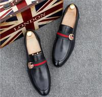 deri sigara toptan satış-2019 Yeni Moda erkek Rahat Loafer'lar Hakiki Deri Slip-on Elbise Ayakkabı El Yapımı Sigara Terlik Erkekler Flats düğün Parti Ayakkabı 38-45 BMM02