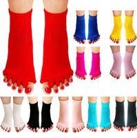 Wholesale toes alignment socks resale online - Five Finger Toes Yoga Socks Anti Slip Sport Fitness Massage Split Toes Socks Yoga GYM Massage Five Toe Separator Foot Alignment Sock KKA6411