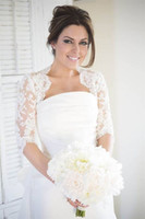 Wholesale tulle bolero wedding dress resale online - 2019 Modest Half Sleeves Lace Wedding Bridal Jackets Bolero Applique Tulle Cheap Wedding Wrap For Wedding Dress Gowns Plus size