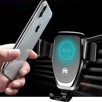 Wholesale cell phone charge holder online – Car Wireless Charger Auto Gravity for iPhone Pro XS Max XR Samsung S10 S9 Intelligent Infrared Vent Mount Fast Charging Cell Phone Holder