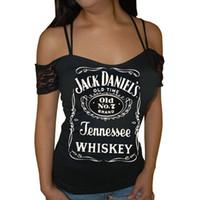 camis de encaje al por mayor-Mujeres sexy fuera del hombro blusa JACK DANIELS Whisky Carta Imprimir encaje Patchwork Spaghetti Strap T Shirts Slim Casual manga corta Tops