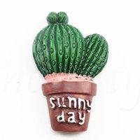 frigoríficos verdes al por mayor-Creativos Suculentas Planta Forma Imanes de Nevera Lindo Simular Verde Cactus Decorativo Refrigerador Pegatina de Recuerdo