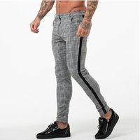 calça apertada venda por atacado-Ginásios Corredores Homens Skinny Calças Apertadas Sportswear Sweatpants Xadrez Calças de Fitness Mens Calças Justas Moda Pista Menor Calça
