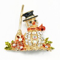Wholesale used silk for sale - Group buy Europe and the United States high end hot Christmas snowman brooch Christmas gift brooch silk scarf buckle dual use