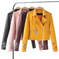 ingrosso giacca gialla delle signore-Nuove donne 2019 Autunno Giallo Slim Cool Lady PU giacche in pelle dolce femminile Zipper Faux ricamo Femme Outwear Coat