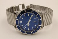 Wholesale metal case watches for sale - Group buy super man stainless steel case metal blue dial A1732016 Ocean Classic three needle automatic men s watch