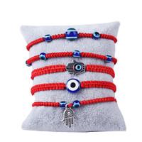 türkische augen großhandel-Handgewebtes Armband Glücksarmband Kabbalah Red String Thread Hamsa Armbänder blau türkischen bösen Blick Charme Schmuck Fatima Freundschaftsarmband
