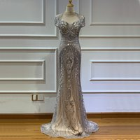 Wholesale best long black evening dresses for sale - Group buy stock Best Selling Luxury Dubai Grey Full Diamond Sexy Evening Dress Short Sleeve Gorgeous Mermaid Prom Dresses Party Gowns Real Pictures