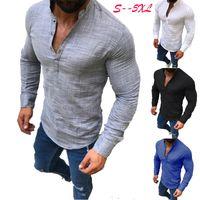 mens knopf unten großhandel-Mode Herren Shirts Langarm Einreiher Herbst Polos Shirts Button Down Casual Solide Tops T Plus Size Kleidung 5XL Großhandel