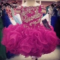 ingrosso beauty mini dresses-Cupcake Flower Girls Dresses Crystals Short Girl's Beauty Pageant Infants Kids Abiti da cerimonia 2019 Economici Glitz Dark Fuchsia Ball Gowns
