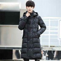 erkek için siyah uzun ceket toptan satış-Erkek Rahat Siyah Dış Giyim Aşağı Ceketler Erkek Kalın Aşağı Ceket Moda Puffer Ceket Kapşonlu Uzun Kış Katı Ördek Parkas
