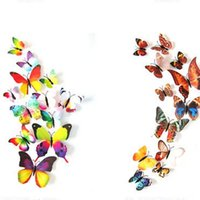 abnehmbare abziehbilder für kühlschränke großhandel-Wandaufkleber 12 Teile / satz Dekoration 3D Schmetterling Aufkleber Wohnkultur Dekorative Aufkleber Zimmer An Der Wand Abnehmbarer Kühlschrank