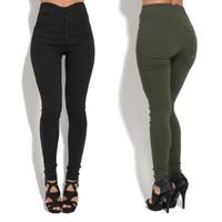 Wholesale green yoga pants for sale - Womens Leggings Womens Fitness Yoga Leggings Running Sport Jogging Solid Color Pants Trousers Sport Leggings Track Pants Size S XL