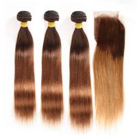 tramas de pelo marrón medio al por mayor-# 4/30 Brown Roots Medio Auburn Ombre Recto Indio Virgin Human Hair 3Bundles con cierre de encaje 4x4 Brown Roots 2Tone Ombre tejido de tramas