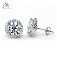 Wholesale stud earrings peacock for sale - Group buy Peacock Star Halo Stud Earrings Solid Sterling Silver Carat Round Cut Bridal Bridesmaid Jewelry Cfe8102 T7190617