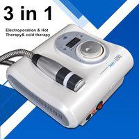 elektroporasyon iğne ücretsiz mezoterapi makinesi toptan satış-Cryo Isıtma Tedavisi Cilt serin Elektroporasyon İğnesiz Mezoterapi Makinesi Sıcak Soğuk Çekiç Yüz Anti Aging Cilt Bakımı Güzellik Cihazı