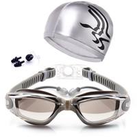 tapones para los oídos para nadar al por mayor-Gafas de natación + Clip para la nariz + Tapones para los oídos Gafas de natación Sin fugas Protección contra rayos UV, UV Triatlón Suministro de natación