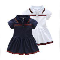 şerit giyim toptan satış-Tasarımcı Logosu Bebek Kız Giysileri Çocuklar Sevimli Takım Zarif Şerit Baskı Elbise Kısa Kollu Üst Lüks Logo Bebek kızın Elbiseleri