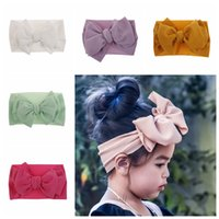 Wholesale big flower hair band girl for sale - Group buy 10 colors Fashion Baby Girls big bow headbands Elastic Bowknot hairbands headwear Kids headdress head bands newborn Turban Head Wraps
