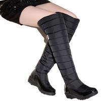 меховая мода россия оптовых-Россия зимние сапоги женщины теплый колено высокие сапоги круглый мыс вниз мех женская мода бедра снегоступы обувь водонепроницаемый botas