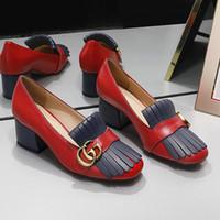 borla original al por mayor-2019 nuevo grueso con damas zapatos únicos exquisitos generosos zapatos casuales zapatos de vestir de alta calidad de abeja de cuero GG marca original wo