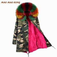 Wholesale rabbit fur pelts resale online - 2019 New Parka Feminina Long Winter Jacket Coat Women Parkas Camouflage Real Raccoon Fur Collar Hooded Natural Rex Rabbit Fur T191113