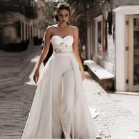Wholesale modest beach wedding dresses resale online - Modest Jumpsuit Beach Mermaid Wedding Dresses with Detachable Train Sweetheart Pants Bridal Gown Satin Lace Appliques Country Wedding Dress