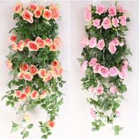 pflanze girlande großhandel-1 Mt Künstliche Rose Blume Gefälschte Hängen Dekorative Rosen Reben Pflanzen Blätter Artificials Garland Blumen Party Hochzeit Wanddekoration