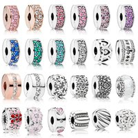 sterling silber stopper perlen charme groihandel-925 Sterling Silber Clip Charms Multi Style Blume Stopper Perlen mit CZ Fit Pandora Silber 925 Original Charm Armbänder