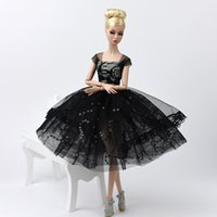 Wholesale bubble wedding dresses resale online - Elegant Fashion Doll Evening Gown Princess Party Dress Wedding Dress Bubble Skirt Costume For Fashion Girl Doll Clothing Black