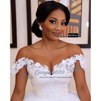 Wholesale princess wedding dresses resale online - 2019 Princess lace ball gown wedding dresses court long train sheer scoop neck off the shoulder african church formal bridal wedding gowns