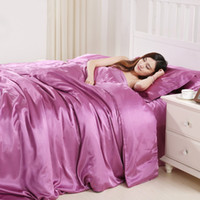satin bettwäsche setzt lila großhandel-Satin Seide Bettwäsche-Set Queen-Size-Luxus Soft 3D Bettbezug König Purple Home Textile Twin Familie Bettdecke mit Pillowcase