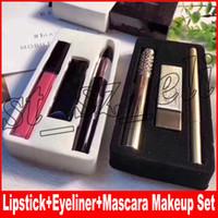 Wholesale lipstick lipgloss resale online - Famous Lip Makeup Set Mascara Matte Lipstick Lipgloss Eyeliner in Cosmetics Kit