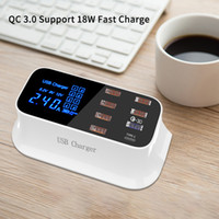 Wholesale smart usb ports hub resale online - Portable Multi USB Charger Desktop Quick Charge USB Charger Station Dock LED Display Smart Type C Ports Hub