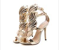 ingrosso sera d'oro dei sandali dell'alto tallone-Le scarpe da sposa da sposa ad angolo d'oro sono sandali con la punta aperta di moda, sandali con tacco alto e scarpe da sera per le feste da sera