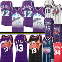 retros 13 al por mayor-NCAA Steve Nash 13 Retro Colegio Vince Carter 15 para hombre Jersey John Stockton 12 Karl Malone 32, Abdul Olajuwon 34 jerseys del baloncesto