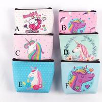 bolsas de regalo plegables al por mayor-Unicornio monederos niñas cartera mujeres pliegue hueco Bolsas de dibujos animados color de rosa rosada del organizador del almacenaje de escritorio bolsa de regalo de los cabritos monederos C2