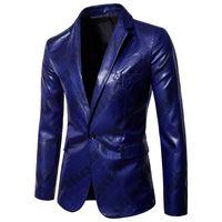 glänzender königlicher blauer anzug großhandel-Shiny Royal Blue Twill Blazer Jacke Männer 2018 Brand New One Button Revers Blazer Männer Anzüge Party Stage Prom Zinnmann Kostüm 3XL