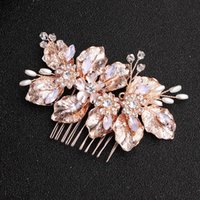 Wholesale stunning wedding hair resale online - Rose Gold Color Leaf Pink Crystal Hair Combs Stunning Wedding Hair Accessories Women Head Decoration For Bride Jewelry