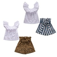 Wholesale baby clothing outfits online - kids designer clothes girls outfits children ruffle fly sleeve tops stripe leopard shorts set Summer baby Clothing Sets C6764